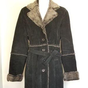 Brandon Thomas long leather coat Size Med -0296